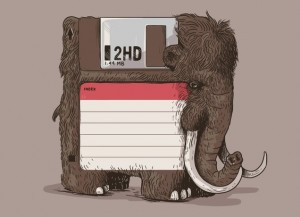 floppy disk crossed with a wooly mammoth