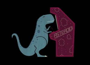 a t-rex playing the arcade game asteroids