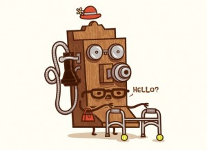 "anthropomorphized old wall telephone with glasses and walker says ""Hello?"""
