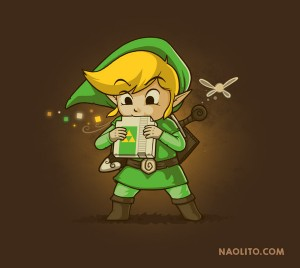 Link blowing into Nintendo game cartridge