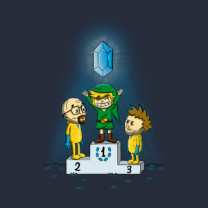 Link as the winner of a contest against Jesse and Heisenberg, holding a blue rupee