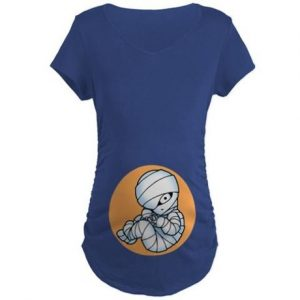Picture of curled up baby mummy on abdomen of maternity shirt