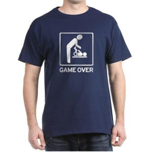 Image like construction sign of dad changing diaper. Reads: GAME OVER.