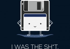 a floppy disk looking pleased