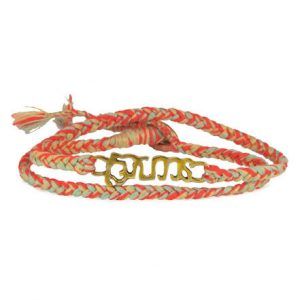 Orange and gold bracelet with gold emblem