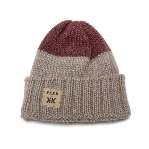 Brown and red stocking cap with FEED embroidered on it