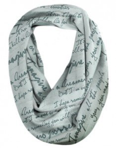Silver infinity scarf with lyrics to John Lennon's song Imagine