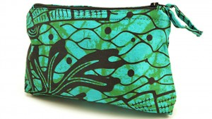 Green and black patterned makeup bag