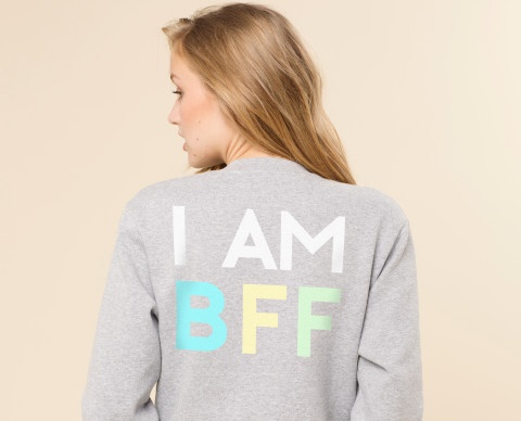 "Sweater back says ""I Am BFF"""