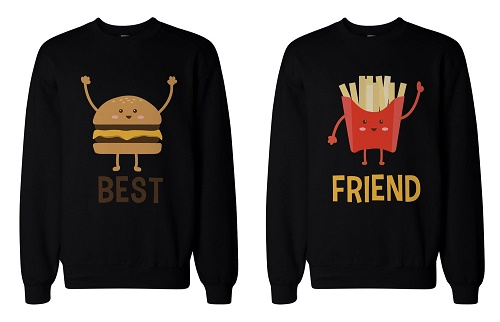 "Matching sweaters. Picture of hamburger: ""best."" Picture of fries: ""friends."""