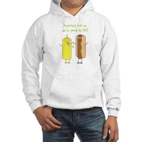 "sweater: mustard bottle and hot dog, ""something tells me we're gonna be BFF"""