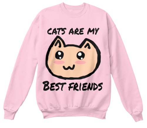 """cats are my best friends"" sweater, with drawing of smiling cat"