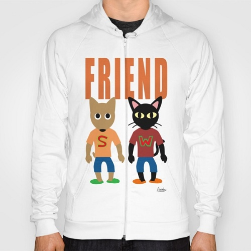 "sweater with drawings of dog and cat says ""FRIEND"""