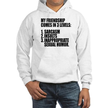 "sweater says ""My friendship comes in 3 levels: sarcasm, insults, inappropriate sexual humor."""