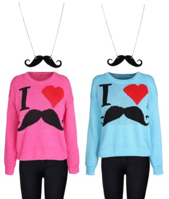 "matching outfits with ""I heart mustache"" sweaters"