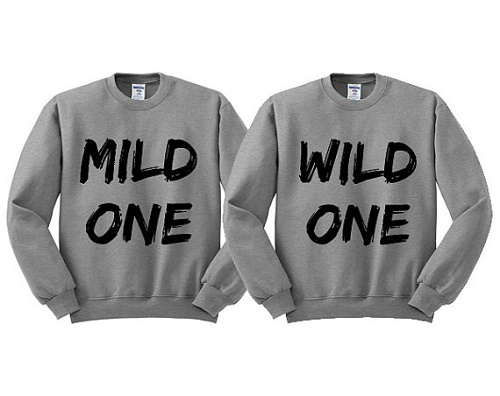 "Matching sweaters say ""mild one"" and ""wild one"""