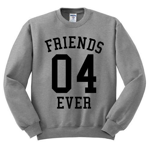 "Sweater with sports jersey look says ""Friends 04 ever"""