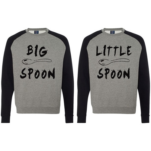 "Matching sweaters say ""big spoon"" and ""little spoon"""