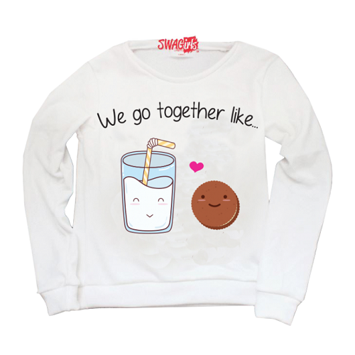 "sweater says ""We go together like..."" followed by picture of cookie and milk with heart"
