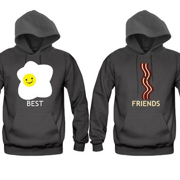 "matching hoodies. Drawing of fried egg: ""Best."" Drawing of bacon: ""Friends."""