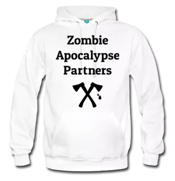 "Sweater says ""Zombie apocalypse partners"" with two axes"